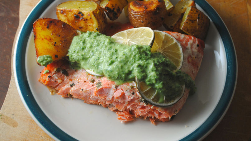 Roasted Arctic Char with Tangy Kale Sauce