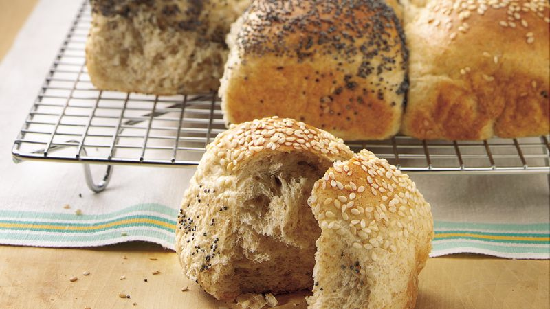 Two-Seed Checkerboard Dinner Rolls