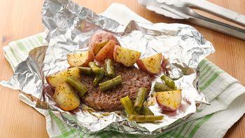 Seasoned Burger and Potato Foil Packs