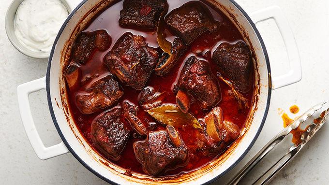 Red Wine Braised Short Ribs with Horseradish Cream