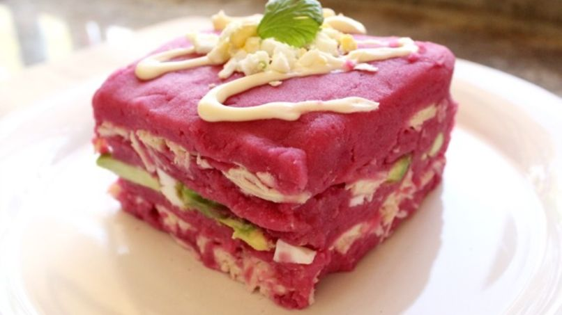 Beet Causa Stuffed with Chicken and Avocado