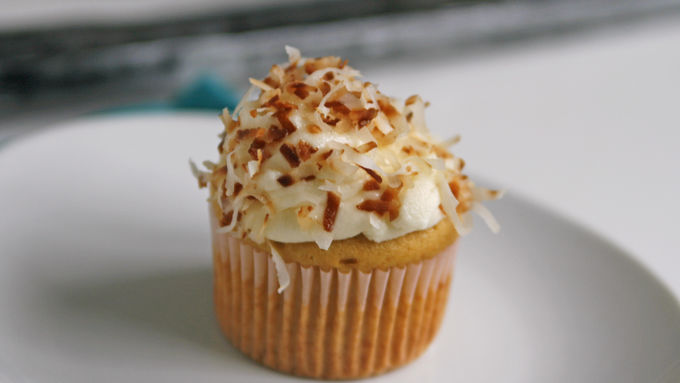 Rum Cupcakes with Coconut Frosting