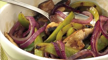 Grilled Balsamic Peppers and Mushrooms