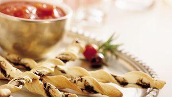Kalamata Olive Breadstick Twists with Marinara Sauce