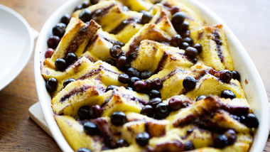 Blueberry Bread-and-Butter Pudding