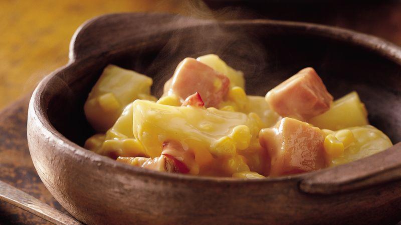 Corn, Ham and Potato Scallop
