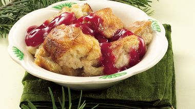 White Chocolate Bread Pudding with Red Berry Sauce