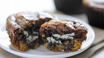 Cookie Stuffed Brownie Cupcakes