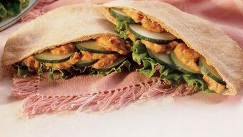 Red Pepper Hummus Pita Sandwiches