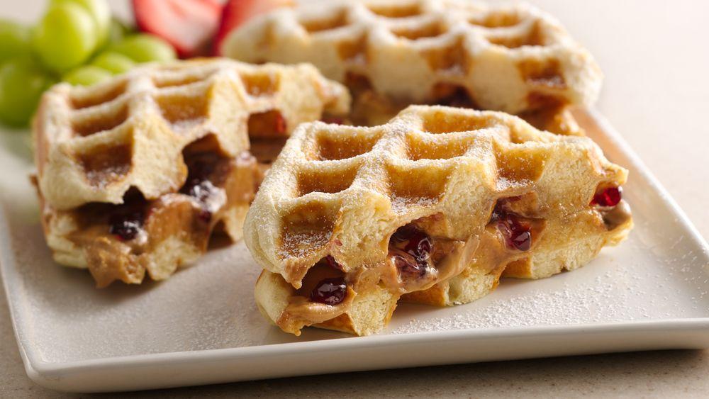 PB & J Waffle Sandwiches