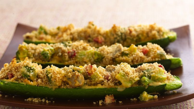 Cheesy Broccoli-Stuffed Zucchini