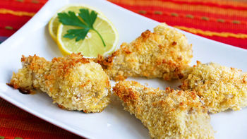 Oven Baked Parmesan & Panko Crusted Chicken Drumsticks