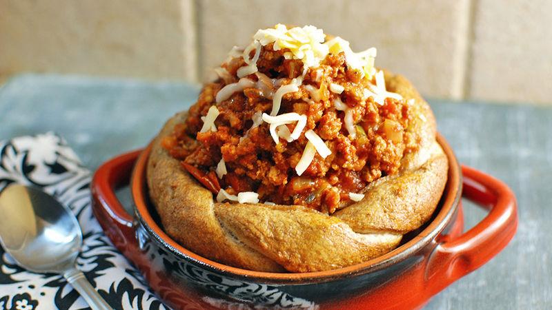 Turkey Sloppy Joes in a Pretzel Bread Bowl