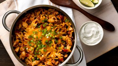 One-Pot Cheesy Chicken Enchilada Pasta