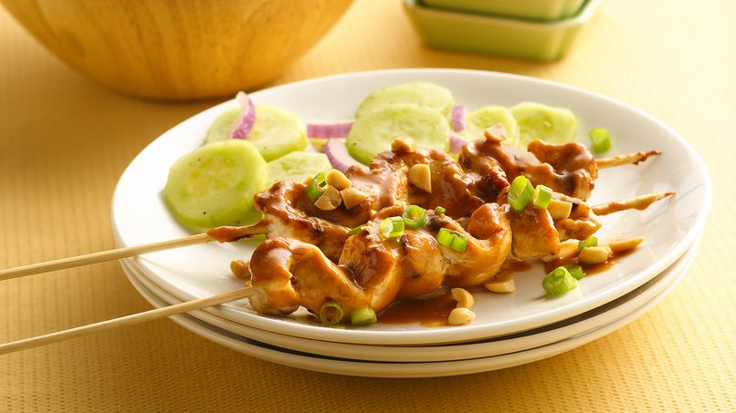 Grilled Chicken Satay with Cucumber Salad