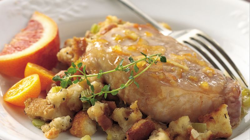 Orange-Glazed Pork Chops with Herb Stuffing recipe from Betty Crocker
