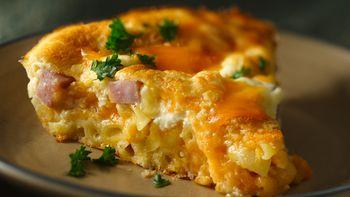 Macaroni and Cheese Ham Pie