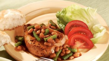 Pork Chops with Beans and Biscuits Dinner