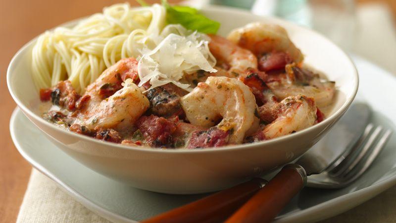 Creamy Fire-Roasted Tomato & Pesto Shrimp Capellini