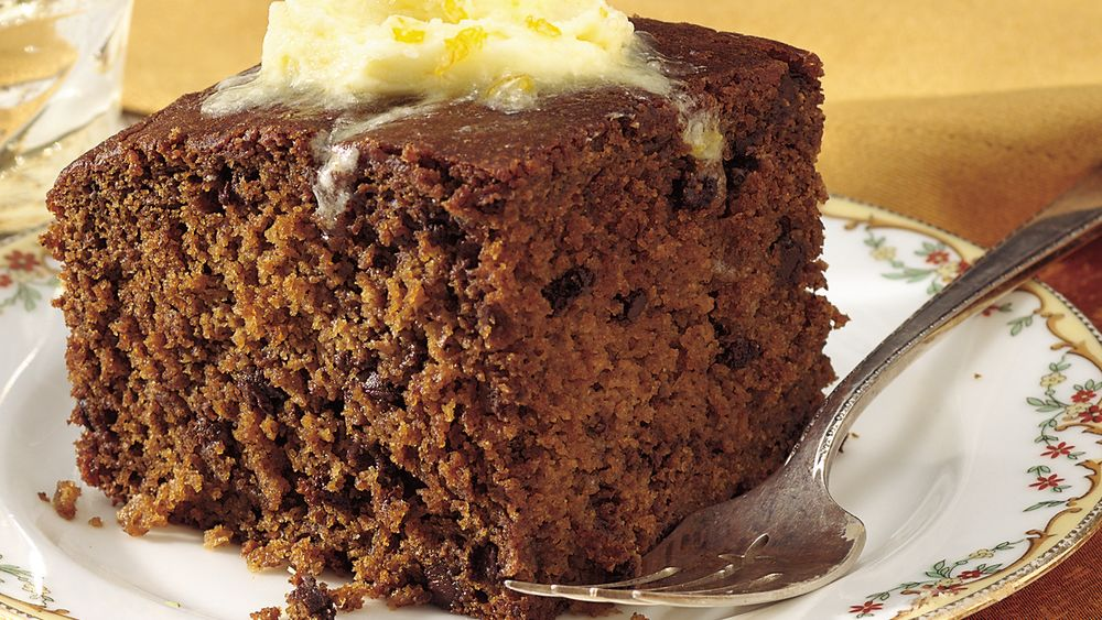 Chocolate Chip Gingerbread with Orange Hard Sauce