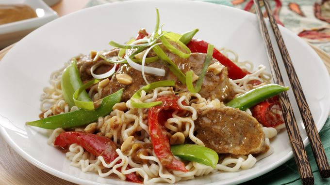 Spicy Thai Pork with Vegetables & Sesame Noodles