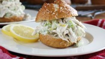 Lemon Chicken Salad on a Pretzel Bun