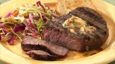 Tenderloin Steaks with Chive and Bacon Butter