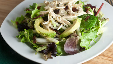 Avocado, Apple and Bacon Salad with Tangy Avocado Dressing