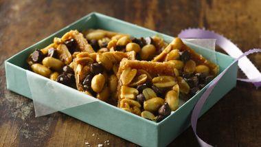 Salty Caramel Peanut Brittle Bars