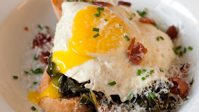 Kale with Egg and Toast
