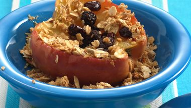 Microwave Baked Apples with Granola for Two