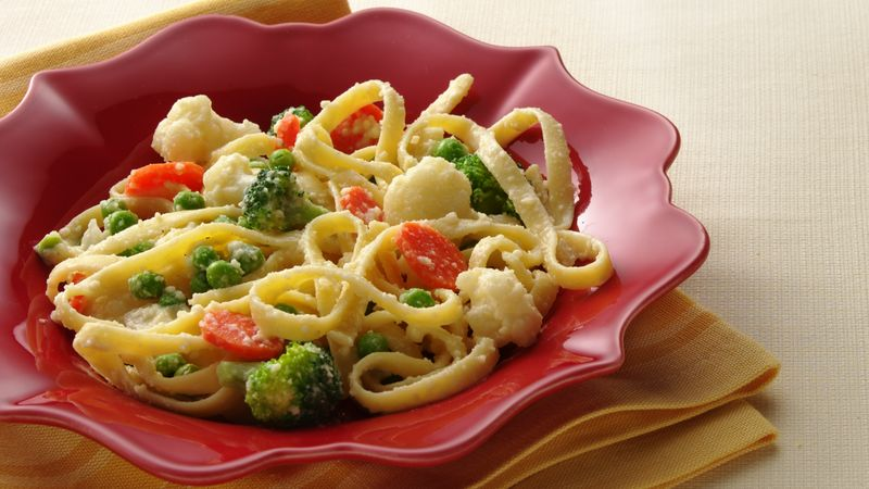 Fettuccine and Vegetables Parmesan