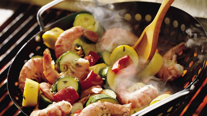 Grilled Lemon Shrimp with Squash
