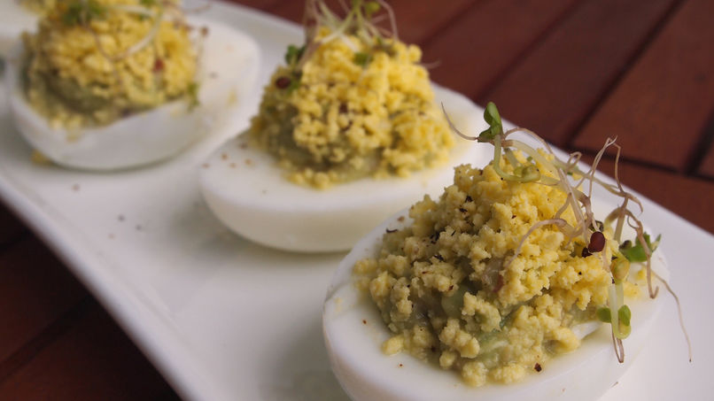 Guacamole Deviled Eggs with Kale Sprouts