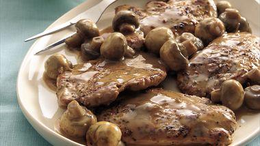 Peppered Pork Medallions in Tangy Mushroom Sauce