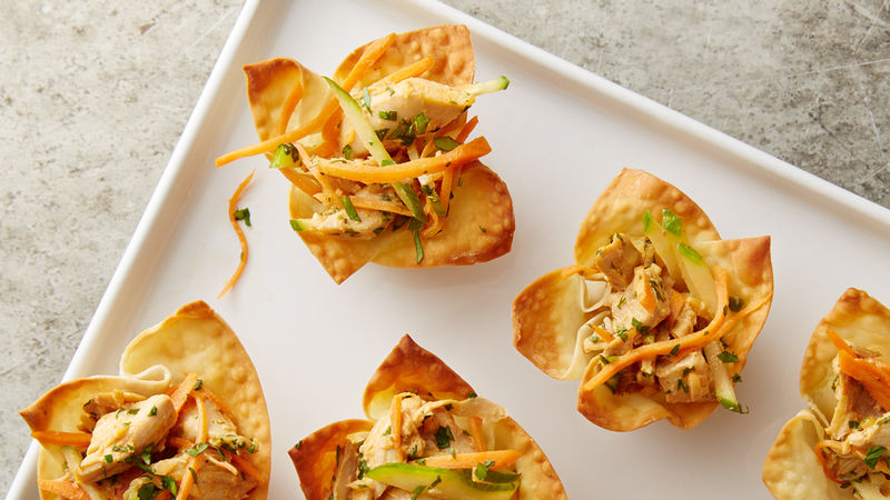 Asian Chicken Salad in Crispy Wonton Cups