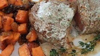 Steak with Sweet Potato-Mango Chutney