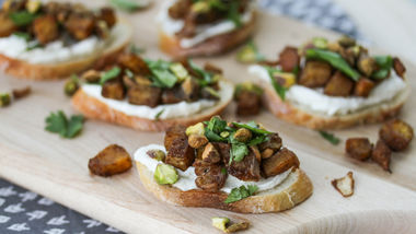 Roasted Squash Crostini with Whipped Goat Cheese