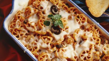 Pizza Casserole with Turkey Sausage
