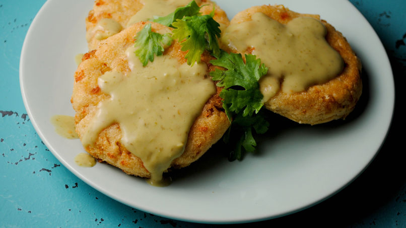 Corn Cakes with Tomatillo and Avocado Sauce
