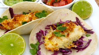 Coconut Bread Fish Tacos with Tomatillo and Avocado Sauce