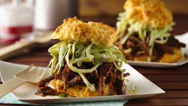 Slow-Cooker BBQ Beef with Creamy Slaw on Cheese-Garlic Biscuits