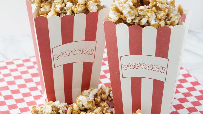 Homemade Caramel Popcorn and Peanuts