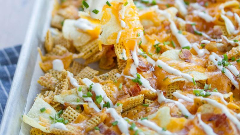 Loaded Baked Potato Cereal Nachos