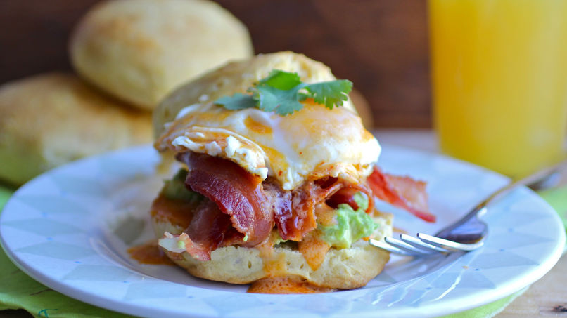 Egg Biscuit Sandwich in Chipotle Hollandaise Sauce