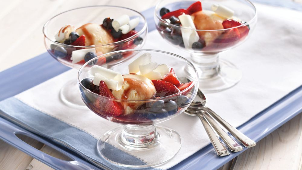 Red, White and Blueberry Sundaes