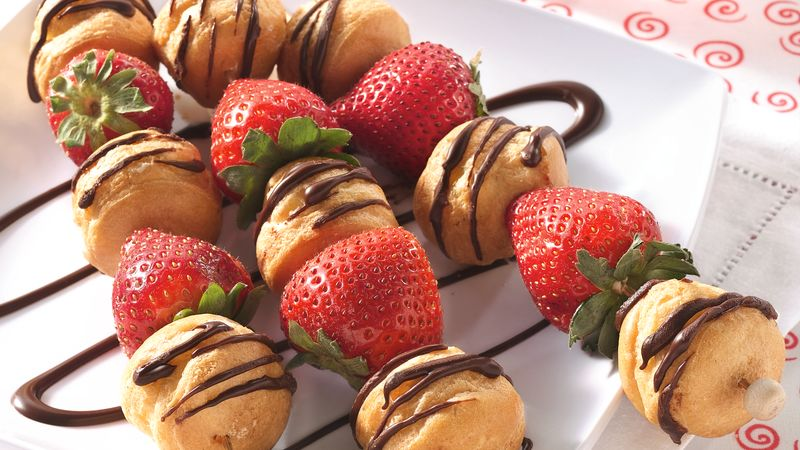 Strawberry-Cream Puff Kabobs