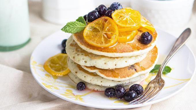 Blueberry Greek Yogurt Pancakes with Meyer Lemon Syrup