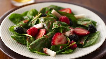 Triple Berry and Jicama Spinach Salad