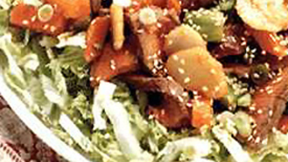 Warm Beef and Veggie Salad with Sesame Dressing